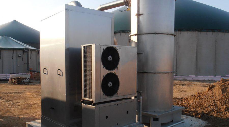 Biogasbehandeling ontzwaveling en biogaskoeling